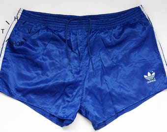 Vintage ADIDAS Originals shorts / Unisex sports athletic nylon pants / Blue white deadstock sport trunks pants / Made in China 80s 90s L XL