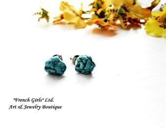Raw Turquoise Tiny Stud Earrings Gemstone Surgical Steel Stud Chakra Healing Crystal Yoga Stone Irregular Cut Rough Boho Bohemian Jewelry