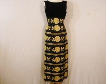 1950s Vintage Dress Black & Gold Floral Hollywood Glam Long Maxi Dress SM