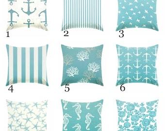 SALE Aqua blue Pillow covers,  Beach pillows, coastal pillows, nautical pillows, seahorse pillow, starfish pillow , Euro sham ZIPPER CLOSURE