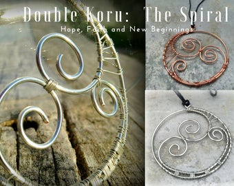 Traditional Maori Double Koru Spiral Pendant in Recycled Copper or Sterling Silver meaning Purity, Truth, Hope and New Beginnings