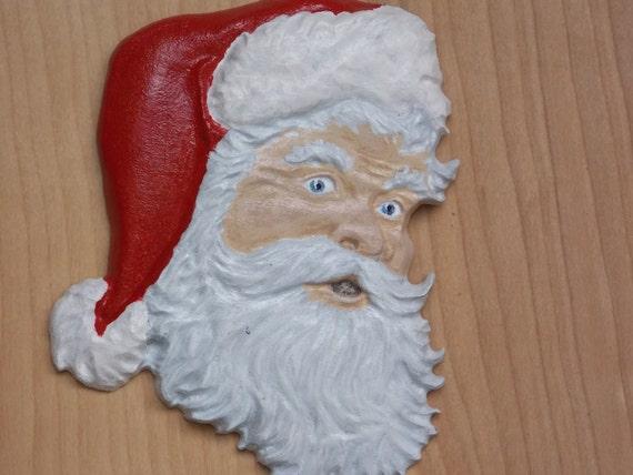Hand Painted Santa Face Ornament Christmas Santa Claus