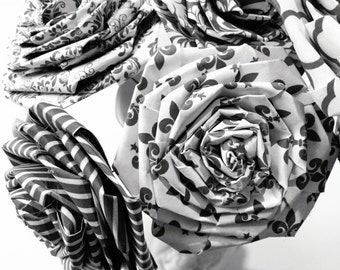 Black White Damask Paper Rose Bouquet Home Decor Artificial Flora Flowers Gift Christmas Mother's Day Birthday (Bunch of 12) InsideMyNest