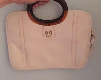 Vintage purse, cream faux leather handbag, lucite handle purse, thin purse