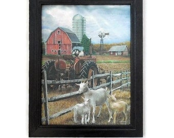 Tractor, Barn, Goats, The Old Tractor, Art Print, Country Home Decor, Wall Hanging, Handmade, 19X15, Custom Wood Frame, Made in the USA