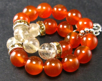Carnelian and Rutilated Quartz Bracelet - 8mm