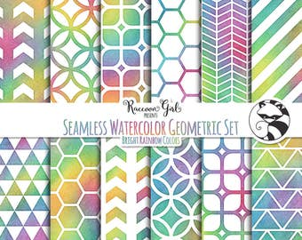 Seamless Watercolor Geometrics in Bright Rainbow Colors Digital Paper Set - Personal & Commercial Use