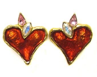CHRISTIAN LACROIX earrings, enamel vintage