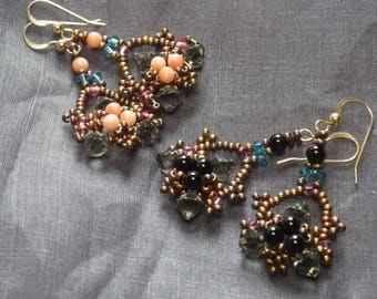 drop earring with coral or onyx