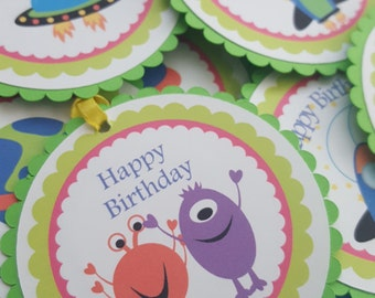 monster birthday, monster party theme, monster green, monster party. monster favor tags