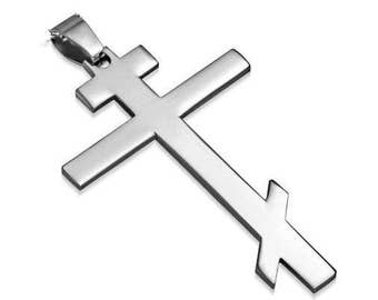 Orthodox Cross Pendant Necklace Stainless Steel And Chain