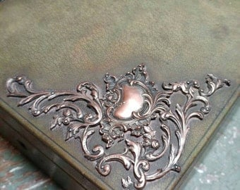 Art Nouveau Leather & Silver Plated Scroll Work Vanity Box