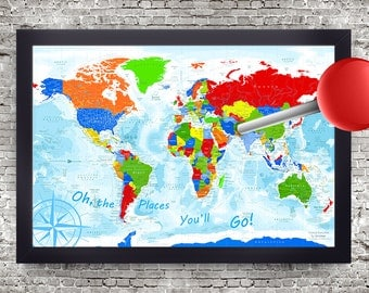 Kids World Map Oh The Places You Ll Go Map Poster Map