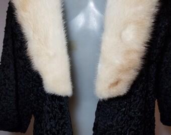 FREE  SHIPPING  1950 Silk Ribbon Fur Jacket