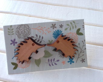Wooden Echidna Earrings - pair of wood earrings with native animal design - 15mm wooden echidna set on surgical steel post - Australia