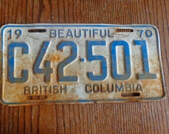 1970 Old Vintage 1970 British Columbia Plate Old Rusty Man Cave Decor Garage Decor Old BC licence Plate Vintage Plate License old