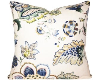 Kaufmann Blue Floral Ophelia Decorative Pillow Cover - Throw Pillow - Accent Pillow - Both Sides - 12x16, 12x20, 14x18, 14x24, 18x18, 20x20