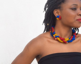 Nefertiti Blue Yellow & Red African Print Ankara Statement Necklace Adorned with Gold Tubes