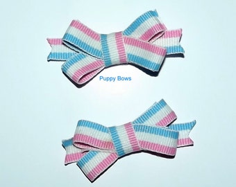 Puppy Bows ~Poodle ear bow pairs pink blue white stripes SMALL dog hair pet comb clip barrette ~Usa seller