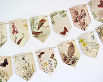 Birds and butterflies paper garland.  Countryside bunting.  Wildlife paper banner.  Eco friendly party, wedding, anniversary backdrop.