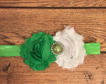 Green and White Shabby Flower Headband