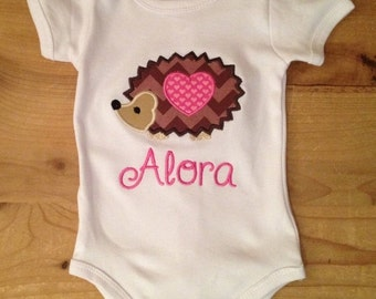Valentine's Day Hedgehog Embroidered Shirt or Baby Bodysuit