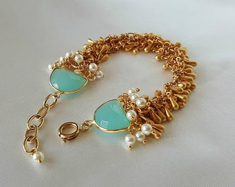 Teardrop Fringe Bracelet With Chalceony Links