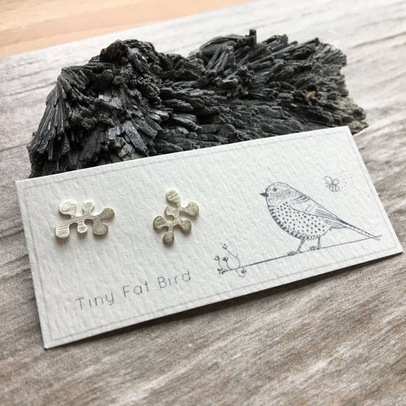 Lichen Puzzle Posts No. 2, in Recycled Argentium Sterling