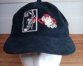 Vintage 1997 Tazmanian Devil and Bugs Bunny Trucker Hat, Stamp Collection Series, Looney Tunes, Warner Bros, Snapback Cap, Made in USA