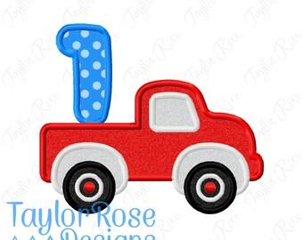 Truck Number 1 Birthday Applique Machine Embroidery Design 4x4 5x5 5x7 6x10 8x8 INSTANT DOWNLOAD