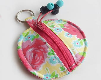 Floral Earbud Holder / Coin Pouch / Floral Coin Purse / Pink Roses / Earbud Case / Ear Bud Holder / Back to School / Small Circle Pouch