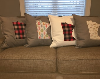 State and Monogram Pillowcase MN (or any other state), plaid, deer, woodland, canoe