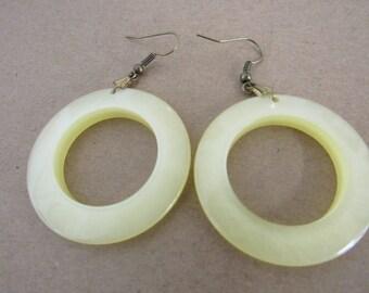 Vintage Yellow Moonglow Plastic Hoop Earrings Pierced Ears
