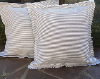 Set of Two Pillow Covers Stripe Pillow Covers Farmhouse Pillow Covers French Decorative Pillow Covers