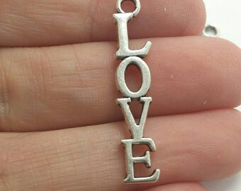 BULK 50 Love Word Charms, Valentines Day Charms, Silver Love Charms, Bulk Charms (5-1336)