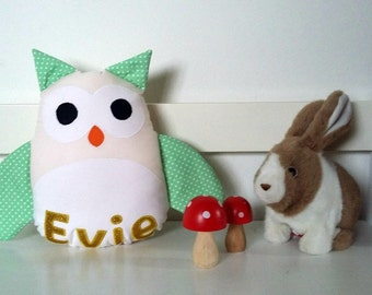 Owl Cushion, Pink and Gold Nursery Decor, Owl Pillow, Personalised Baby Girl, Mint Nursery Decor, Owl Baby Girl, Owl Home Decor