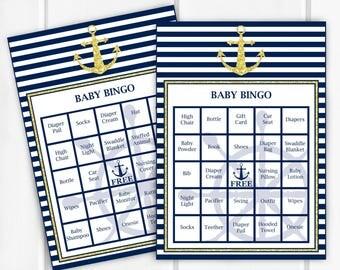 Baby Bingo, Nautical Baby Shower Game, Item 204