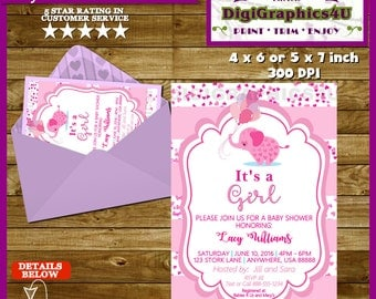 Little Peanut Pink Elephant It's a Girl Baby Shower Invitation - Printable Personalized  File