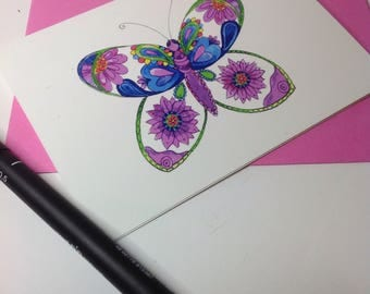Purple Butterfly Card, Patterned Purple Butterfly Greeting, Blank Greeting Card, Butterfly Thank You Card, Butterfly Birthday Card,