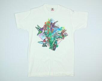 Hummingbird Shirt M - Vintage Hummingbird Tshirt Medium - Pretty Birds T-Shirt Med - 90s Hummingbird Tee Medium - Vintage Bird Tshirt M