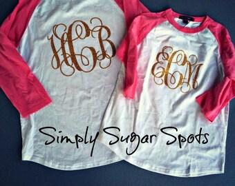 Glittery Monogram Baseball T-shirt