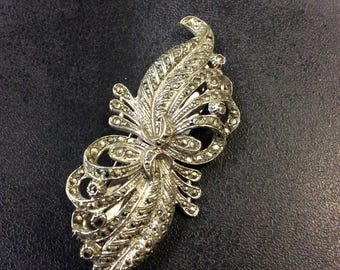 Marcasite dress clip duette brooch