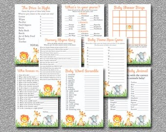 Safari Baby Shower GAMES 8 pack of Printable Games, Jungle Baby Shower Games package, Baby shower Party Pack Games, Instant Download 001-A