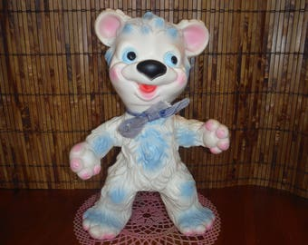 Vintage Blue Cream Bear Squeak Toy - Vintage Rubber Stand Up Bear Squeaker Squeaky Toy - Vintage Made in Italy Elephant Logo Bear Squeak Toy