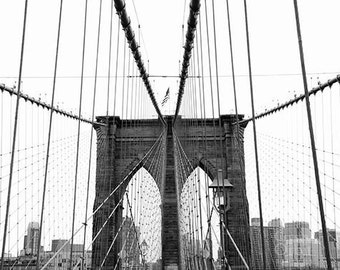 Brooklyn Bridge Print, New York City Print, Black and White Fine Art Photography, Brooklyn Bridge Art, NYC Wall Art, NYC Print
