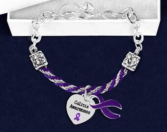 Colitis Purple Ribbon Partial Rope Bracelet (1 Bracelet) (RE-B-18-4CO)