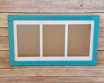 Picture Frame 3 Windows 5 x 7 Turquoise Wood Up Cycled Eco Friendly READY TO SHIP
