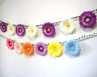 Purple Wedding Garland,Purple Flower Garland Backdrop,Purple Flower Daisy Banner,Bunting,Bridal Baby Shower decor,Hanging Floral Garland