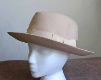 Wool Felt Tan Fedora Style 1960's Hat with Tan Grossgrain Ribbon and Bow Accent Vintage