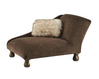 Brown Chaise Pet Bed, Dog Bed, Pet Furniture, Luxury Pet Bed, Boy Dog Bed